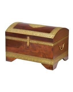 Truhla z palisandrového dřeva zdobená mosazným kováním, 56x38x39cm