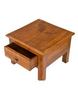Starý kupecký stolek se šuplíkem z teakového dřeva, 40x40x30cm