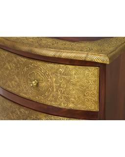 Komoda z palisandrového dřeva s mosazným kováním a šuplíky, 46x40x60cm
