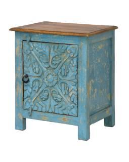 Noční stolek z mangového dřeva, tyrkysová patina, 51x38x60cm