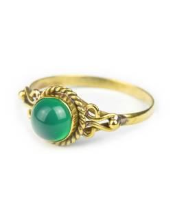 Prsten s polodrahokamem, zelený onyx 6mm, kulatý, zdobený, postříbřený (10µm)