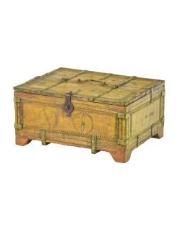 Starožitná truhlička z teakového dřeva, 39x30x19cm