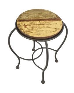 Stolička pod kytku z teakového dřeva, železné nohy, 27x27x39cm