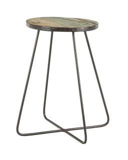 Stolička pod kytku z teakového dřeva, železné nohy, 31x31x48cm