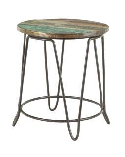Stolička pod kytku z teakového dřeva, železné nohy, 38x38x42cm