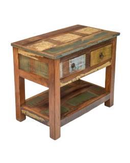 """Stolek z teakového dřeva s šuplíky, v """"Goa"""" stylu, 70x40x60cm"""