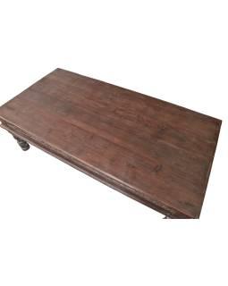 Konferenční stolek z teakového dřeva, ručně vyřezávaný, 182x93x55cm