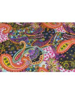 Čierno ružový prehoz na posteľ s Paisley potlačou, ručné práce, prešívanie, 260x220