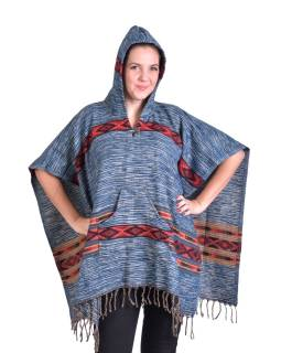 Barevné pončo s kapucí a třásněmi, vzor aztec, modré