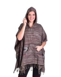 Barevné pončo s kapucí a třásněmi, vzor aztec, šedé