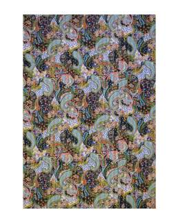 Čierny prikrývka na posteľ s Paisley potlačou, ručné práce, prešívanie, 220x160cm