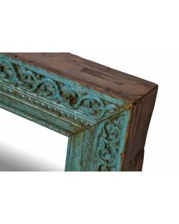 Zrcadlo v rámu z teakového dřeva, ručně vyřezávané, 70x10x71cm