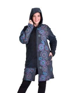 Černý kabátek s kapucí, potisk a výšivka Mandal, na zip, kapsy, stone wash