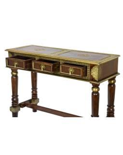 Konzolový stolek z palisandrového dřeva a kováním, 3 šuplíky, 121x45x85cm