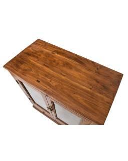 Prosklená skříňka z teakového dřeva, 79x41x92cm