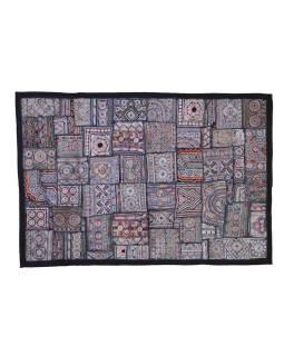 Strieborná patchworková tapisérie z Rajastan, ručné práce, 100x160cm