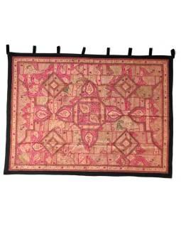 Červená patchworková tapisérie z Rajastan, ručné práce, 156x202cm