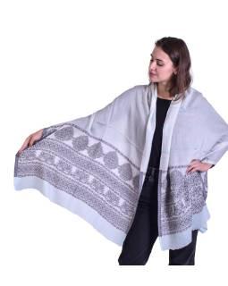 Luxusní šál z kašmírové vlny, blankytně modro-béžový s jemným vzorem a proužky