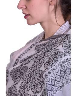 Luxusní šál z kašmírové vlny, šedo-béžový s jemným vzorem a proužky
