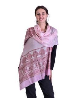Luxusní šál z kašmírové vlny, růžovo-béžový s jemným vzorem a proužky