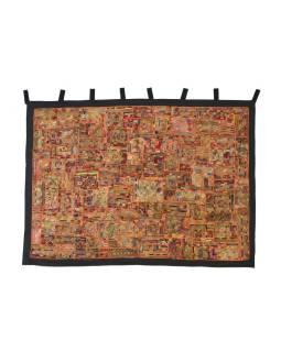 Červená patchworková tapisérie z Rajastan, ručné práce, 132x184cm