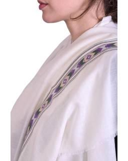 Luxusní šál z kašmírové vlny, barevný vzor v pruhu, krémově bílý, 72x200cm