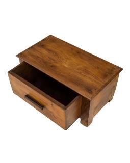 Starý kupecký stolek se šuplíkem z teakového dřeva, 48x26x23cm