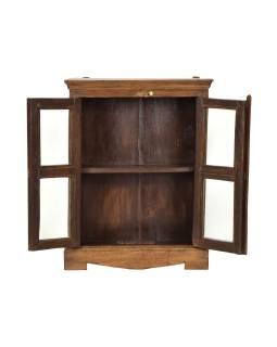 Prosklená skříňka z teakového dřeva, 46x17x60cm