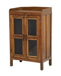 Prosklená skříňka z teakového dřeva, 63x38x101cm