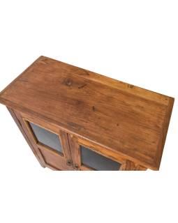 Prosklená skříňka z teakového dřeva, 74x36x89cm