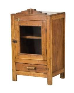 Prosklená skříňka z teakového dřeva, 39x30x65cm