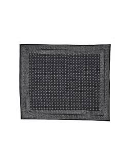 Čierny prikrývka na posteľ s bielym tlačou, prešívaný, 265x225cm