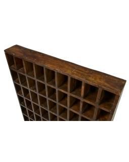 Polička na kazety z tekového dřeva, 88x13x90cm