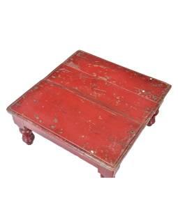 Starý čajový stolek z teakového dřeva, 40x39x20cm