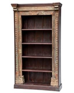 Veľká knižnica zo starého teaku a manga, rezby, slony, 127x50x227cm