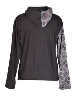 Čierno-šedá mikina s kapucňou zapínaná na zips 0e0da12264a