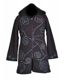 Čierny fleecový dámsky kabátik s kapucňou zapínaný na zips, spiral výšivka a mandala
