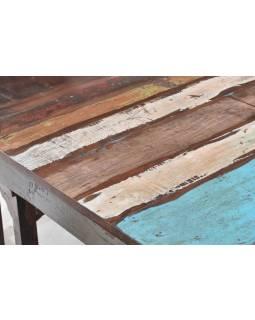 "Stůl a 4 židle v ""Goa"" stylu, starý teak, 90x90x75cm"