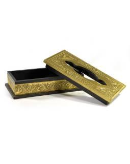 Krabička na vreckovky, drevené, zdobená mosadzným plechom, 25x13x8cm