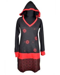 Mikinové šaty, dlhý rukáv, čierno-červené, kapucňa, vrecko