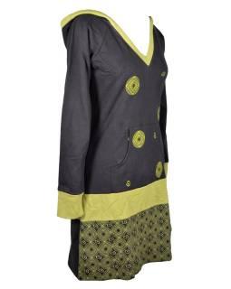 Mikinové šaty, dlhý rukáv, čierno-zelené s kapucňou, vreckom a potlačou