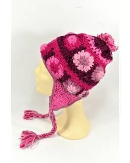 Čiapka s ušami, 2 kytky v rade, podšívka, ružová