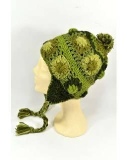 Čiapka s ušami, 2 kytky v rade, podšívka, zelená