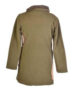 Khaki fleecový kabát s golierom zapínaný na gombíky, farebné aplikácie, potlač a v