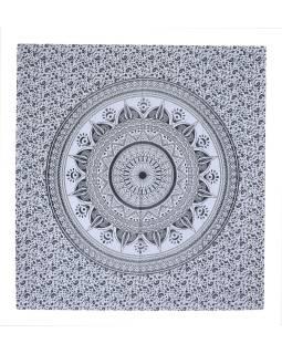 Bílý přehoz na postel, černý tisk, mandala, 210x230cm