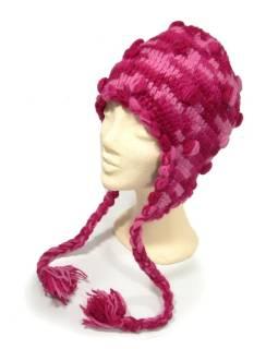 Čiapka s ušami, ručne pletená, guľôčky, ružová, s podšívkou