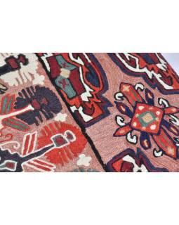 Ručne vyšívaný koberec / tapisérie, výšivka z kašmírskej vlny, 150x90cm