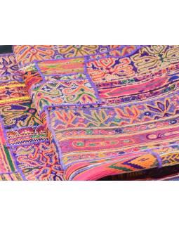 Oranžová patchworková tapisérie z Rajastan, ručné práce, 108x161cm