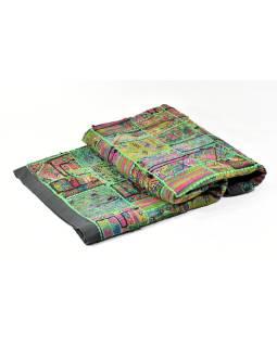 Zelená patchworková tapisérie z Rajastan, ručné práce, 107x158cm