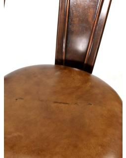 Kovová stolička s koženým čalúnením, 48x53x94cm